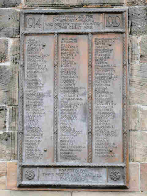Names of First World War employee's killed